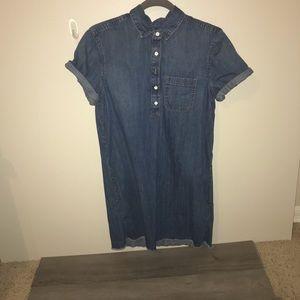 Denim Short Sleeve Shirt Dress